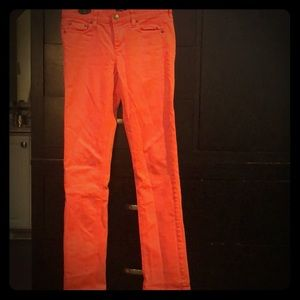 Coral J Crew Matchstick jeans